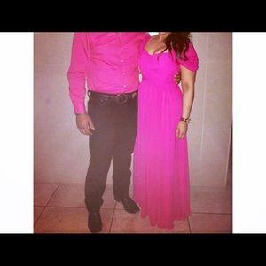 Dresses & Skirts - Pink formal cold shoulder chiffon dress💖
